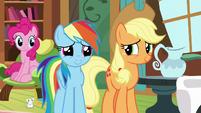 Pinkie, Rainbow, and Applejack listen to Fluttershy S7E5