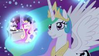 Princess Celestia observes Cadance's dream S7E10