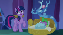 Twilight Sparkle rolls her eyes at Spike S8E11