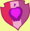 Apple with a heart inside on a red, pink, and purple shield