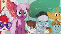 Cheerilee and foals surprised by Diamond Tiara S5E18