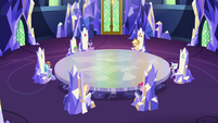 Mane Six and Spike in the throne room S8E21