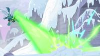 Queen Chrysalis blasts the snow again S9E24