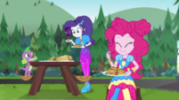 Rarity, Pinkie Pie, and Spike at breakfast CYOE11a