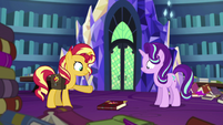 Sunset Shimmer's new journal falls on the floor EGS3