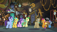 Everyone in Dr. Hooves' lab in silence S9E20