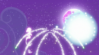 Fireworks lighting up the night sky S9E17