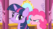 Pinkie Pie reminds Twilight to keep Spike's secret S1E20