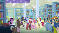 Rainbow Dash flying over the crowd S9E21