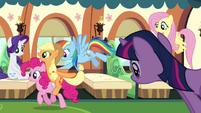Rainbow Dash pushes Applejack and Pinkie Pie S3E12