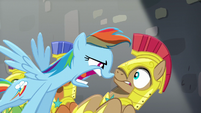 Rainbow questions one of the royal guards S5E15