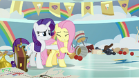 Rarity and Fluttershy in middle of destruction S9E7
