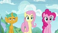 Snails, Fluttershy, and Pinkie looking forward S9E15