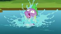 Spike falls into the river S8E24