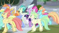 Twilight leaving with the Hippogriffs S8E6