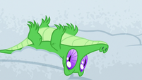 Gummy lying upside-down in the snow S7E11