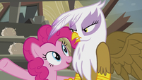 "Pinkie ""even the most grumpy griffon grin!"" S5E8"