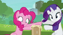Pinkie Pie pushing Rarity away S6E3