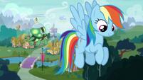 Rainbow looks down S5E5