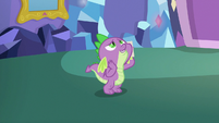 Spike fawns over Rarity in his room MLPBGE