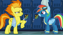 Spitfire hits a locker with her elbow S6E7