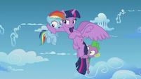 Twilight puts a hoof around Rainbow Dash S5E25