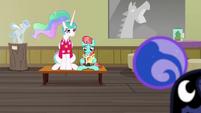 Celestia sitting next to Strawberry Ice S9E13