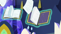 Pages filling the empty book spines S7E14