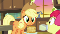 Applejack looking at jar of pear jam S7E13