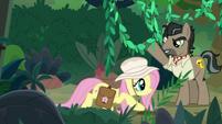 Fluttershy crouches under jungle vines S9E21