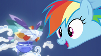 Rainbow Dash looking at the pirates' ship S8E1