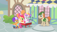 "Scootaloo ""we'll return the fan to you real soon"" S1E18"