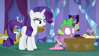 Spike startled by Rarity's shout S9E19