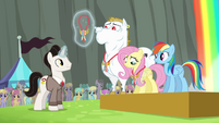 Timekeeper giving medals to Ponyville team S4E10