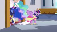 Twilight, Celestia, and Luna step onto the balcony S03E13