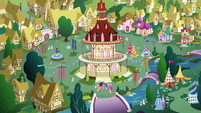 Wide view of Ponyville many moons later S9E26