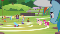Fluttershy, Pinkie, and cheer squad look at RD S9E15