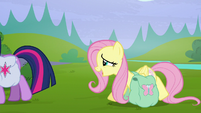 """Fluttershy straining """"we'll find out when we get home"""" S5E23"""