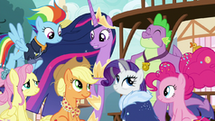 Future Mane Six and Spike in Ponyville S9E26.png