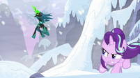 Queen Chrysalis looming over Starlight S9E24