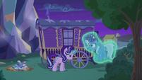 Starlight Glimmer levitates Trixie out of her wagon S6E25