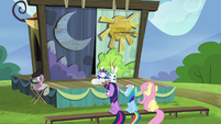 Twilight, Rainbow and Fluttershy watching the play S4E21