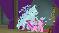 Twilight and Pinkie get doused with water S8E7