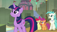 Twilight eager to see the Hippogriff village S8E6