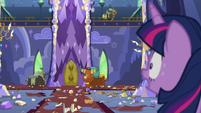 Twilight sees the yaks smashing castle property S5E11