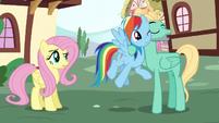 Zephyr Breeze holding Rainbow Dash close S6E11