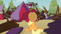 Applejack in front of destroyed barn S03E08