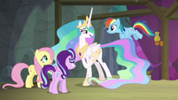 Celestia tells Rainbow to gather clouds S8E7