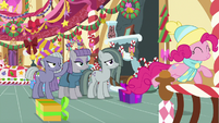 Limestone, Maud, and Marble watch Pinkie leave MLPBGE