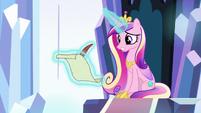 Princess Cadance writing a letter to Twilight S9E1